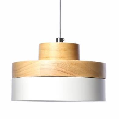 lámpara madera techo colgante salon comedor decoracion local comercial blanco madera natural