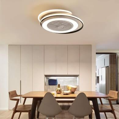 lámpara techo pladon moderno cristal luz LED ventilador sin aspas diseño moda tecnología bajo consumo