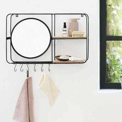 espejo baño pequeno forja madera cristal barato oferta