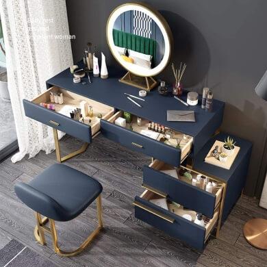 taburete de diseño de alta claidad de madera macisa y espejo con luz led ideal para dormitorios vestidores salas de maquillaje salones de belleza